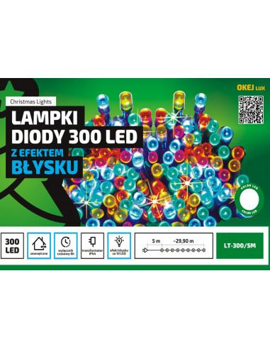 Sznur świetlny 30 m • 300 LED • z efektem FLASH • zewnętrzne lampki choinkowe