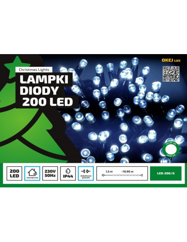 Sznur świetlny 20 m • 200 LED •...