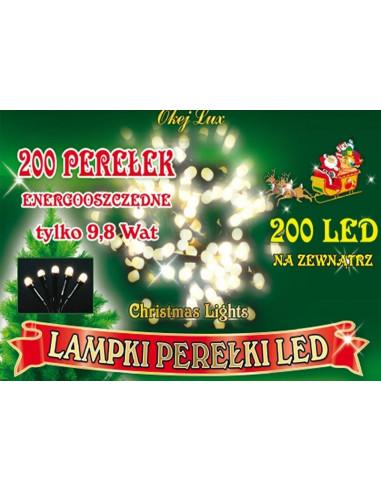 Sznur świetlny 20 m • 200 LED perełki...