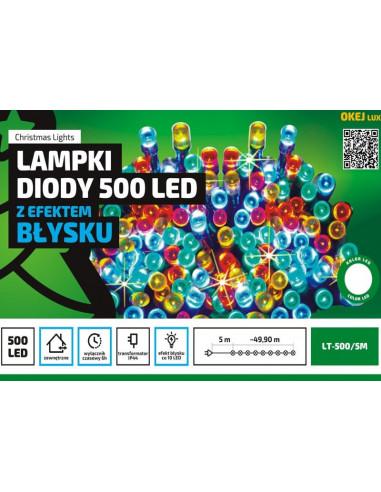 Sznur świetlny 50 z efektem flash w pięciu kolorach zewnętrzne lampki choinkowe