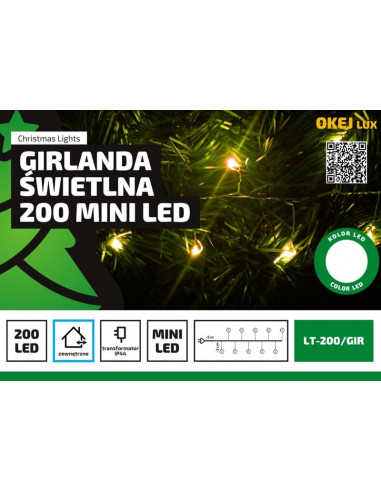 Lampki na druciku sznur 5 m • 200 LED...