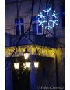 Figura śnieżynka LED zewnętrzne lampki choinkowe idealne na drzewa lub na elewacje budynku. Płatek śniegu