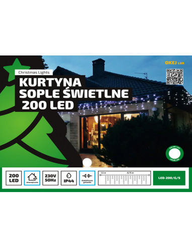 Kurtyna Sople LED 8,75 m • 200 LED •...