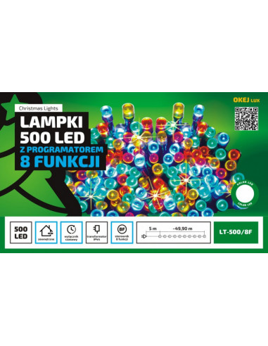 Zewnętrzne lampki choinkowe, sznur świetlny 50 m z programatorem 8 funkcji, idealne do oświetlenie drzew