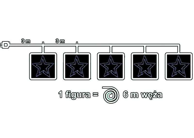 Schemat 5 gwiazd z węża led